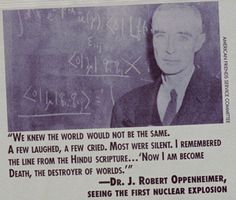 Oppenheimer Quote Pinbob Solomon On People  Pinterest