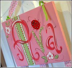 Custom Canvas Personalized Hand Painted Bow Holder- Ladybug Design.