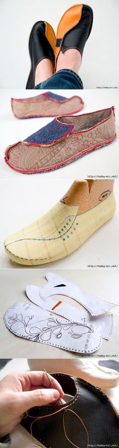 homemade denim or leather moccasins. – Cool homemade denim or leather moccasins. Crochet Shoes, Crochet Slippers, Leather Moccasins, Leather Slippers, Mocassins, Shoe Pattern, How To Make Shoes, Leather Projects, Leather Craft