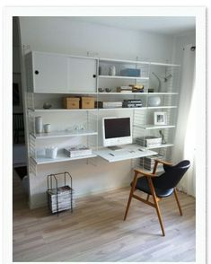 string system, home office, white Office Desk Set, Office Nook, Home Office Setup, Casa Milano, String Shelf, Desk Inspiration, Compact Living, Storage Design, Ikea Hacks