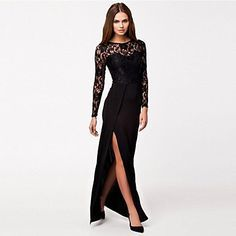 Women's+Thigh+High+Slit+Long+Sleeve+Maxi+Dress+–+USD+$+20.99