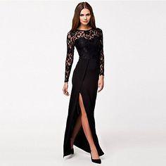 Women's+Thigh+High+Slit+Long+Sleeve+Maxi+Dress+–+USD+$+20.99