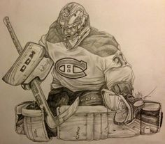 Hockey Goalie, Hockey Players, Montreal Canadiens, Drawing Sketches, Pencil Drawings, Hockey Drawing, Goalie Mask, Baseball, Hockey Tattoos