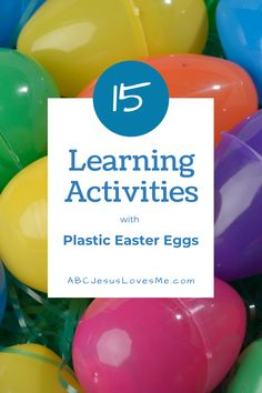 Turn Leftover Easter Eggs into Learning Fun! Don't pack away those plastic Easter eggs just yet. Your kiddos will love all of the fun, academic learning activities available with plastic Easter eggs. Here are a few to get started: Math - Basic hide and seek. Then have the child count how many eggs he found. Colors - Have the child seek only one color of eggs. Fine/Gross Motor - Place the egg in a spoon and race to a designated spot without letting the egg drop.