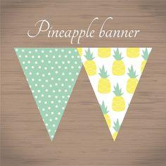 printable pineapple pattern banner summer pineapple par pisforprint