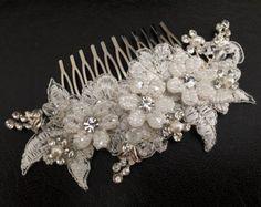 Novia accesorios pedazo de cabeza de novia marfil por alarastore