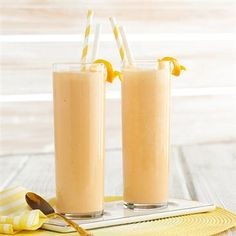 This Sunrise Smoothie recipe brings together  R.W. Knudsen Family® Organic Orange Carrot Juice Blend and Pineapple Coconut Flavored Juice with Santa Cruz Organic® Pure Lime Juice, orange, mango sorbet, honey and ice for a sweet morning drink.