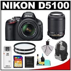 Nikon D5100 16.2 MP Digital SLR Camera & 18-55mm G VR DX AF-S Zoom Lens with 55-200mm VR Lens + 16GB Card + Backpack + (2) Filters + Cleaning & Accessory Kit by Nikon. $789.95. Kit includes:♦ 1) Nikon D5100 Digital SLR Camera & 18-55mm G VR DX AF-S Zoom Lens♦ 2) Nikon 55-200mm f/4-5.6G VR DX AF-S ED Zoom-Nikkor Lens♦ 3) Transcend 16GB SecureDigital Class 10 (SDHC) Ultra-High-Speed Card♦ 4) Vivitar 52mm UV Glass Filter♦ 5)  Additional Vivitar 52mm UV Gla...