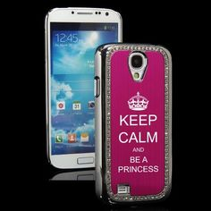 Hot Pink Samsung Galaxy S4 S IV i9500 Rhinestone Crystal Bling Hard Back Case Cover KS175 Keep Calm and Be A Princess by MIP