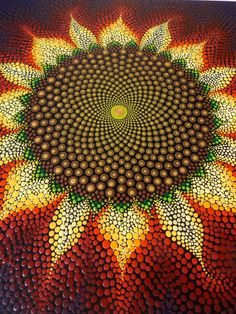 Art by Kaila Lance, Sunflower, Dot Painting, Sacred Geometry, Mandala, 12x12 inch Wood Canvas