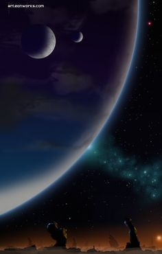 cosmic art - blue planet with two moons and sunset