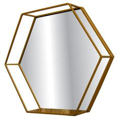 """Metal Hexagonal Shape Wall Mirror with Shelf 16"""" x 3.5"""" x 13.86"""" in Brass - Project 62.  Modern and geometric to decorate and organize your space. This clean and modern hexagonal shaped metal mirror wall shelf is perfect for wall dual function decor to complement your living space. Express your design aesthetics and display photos, plants and other treasures with our mid-century inspired 116"""" x 3.5"""" x 13.86""""h shelving. Made of solid metal, in a brass finish, it i..."""