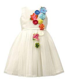 Look what I found on #zulily! White Floral-Accent A-Line Dress - Girls #zulilyfinds