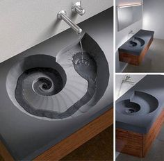 Nautilus/Ammonite sink, by HighTech. How cool would this be? Way cool!