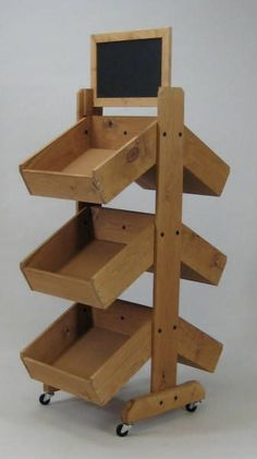 3 Tier Double Sided Vegetable Bin, Wooden Produce Display Use in farmstand and craftshop maybe kit pantry. Farmers Market Display, Market Displays, Store Displays, Produce Market, Soap Display, Display Boxes, Display Stands, Display Ideas, Yarn Display