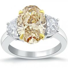 7.35 Ct Natural Fancy Champagne Oval Cut Three Stone Diamond Engagement Ring 14k - Fancy Color Engagement Rings - Engagement - Lioridiamonds.com