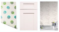 KCK bathroom remodeling ideas: Fantasy Bathroom Series: Luxe Wallpaper | (from left to right: Biscayne Dot, Ice White Shaker Bathroom Cabinets, Saville White)