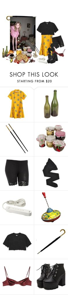 """rainy days and black umbrellas"" by anekochan on Polyvore featuring Chicnova Fashion, Avignon, Versace, Wolford, Ivy Park and Marni"