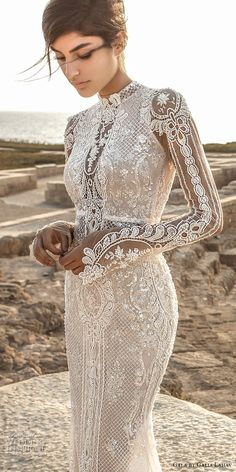 GALA by Galia Lahav 2017 bridal long sleeves high neck full embellishment crystals beaded elegant lace sheath wedding dress keyhole back chapel train (805) zv #wedding #bridal #weddingdress