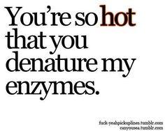 "Biochemistry jokes: ""You're so hot you denature my enzymes"""