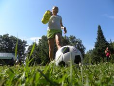 Girls playing soccer at WeHaKee Camp for Girls | Girl playing soccer