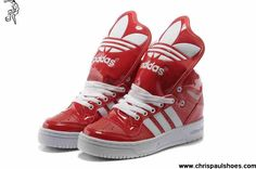 Discount Adidas X Jeremy Scott Big Tongue Leather Shoes Red White Fashion Shoes Store