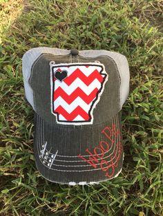 Arkansas University Razorbacks U of A State Baseball Bling Ladies Womens Trucker Hat by Chasing Elly