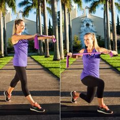 Rotating Lunge and Row - Resistance Band Workout: 8 Resistance Exercises for Total-Body Sculpting - Shape Magazine Resistance Workout, Resistance Band Exercises, Plie Squats, Lunges, Pumping Iron, Shape Magazine, Body Sculpting, Total Body, Full Body