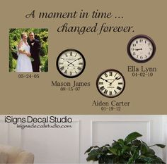 A Moment In Time Changed Forever Time Clock by iSignsDecalStudio, $22.00