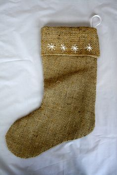 Embroidered Burlap Christmas Stocking, simple and cute