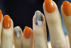 orange, grey, white nails