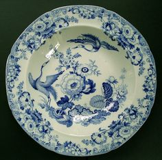 FINE STAFFORDSHIRE HICKS AND MEIGH STONE CHINA EXOTIC BIRDS PATTERN BLUE AND WHITE DISH C.1815-22