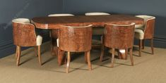 Art Deco Burr Walnut Dining Table & Leather Chairs - Antiques Atlas Antique Dining Tables, Walnut Dining Table, Dining Table Chairs, Dining Set, Art Deco Furniture, Antique Furniture, Dining Suites, Arts And Crafts House, Leather Chairs
