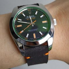 Minimalist Ebony with Orange Stitch on Rolex Milgaus price for: $99.99 (999 ribu) without buckle by gunnystore