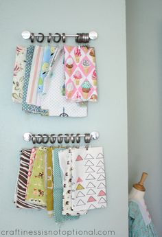 hanging fabric storage from craftiness is not optional - love this way to display fabric - decor and organization!!  Love this!