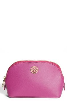 Tory Burch 'Robinson - Small' Cosmetics Case Royal Fuchsia One Size from Nordstrom on shop.CatalogSpree.com, your personal digital mall.