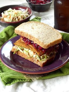 Leftover Cranberry, Cider Slaw and Grilled Tempeh Vegan Thanksgiving Sandwich | #Holiday #Sandwich