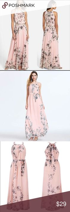 NEW Blush Maxi Chiffon Gown Dress Flowy and gorgeous full length dress.  Whisper pinky peach blush color.   Fully lined chiffon. Self tie fabric belt.   Gold belt not included.  See measurements in last photo. Dresses Maxi