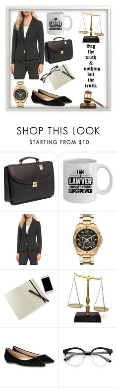 """""""Lawyer ••"""" by tale-as-0ld-as-time ❤ liked on Polyvore featuring ClaireChase, Halogen, Michael Kors, Moleskine, Jimmy Choo, GAVEL, dreamjob and goals"""
