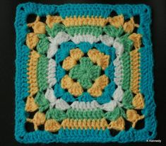 I love this square! Variation on Granny Square 2 from Leisure Arts #3078 book 99 Granny Squares to Crochet.