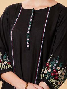 Buy Black Embroidered Viscose Kurta online at Theloom Kurti Sleeves Design, Sleeves Designs For Dresses, Kurti Neck Designs, Dress Neck Designs, Kurti Designs Party Wear, Blouse Designs, Embroidery On Clothes, Embroidered Clothes, Embroidery Fashion