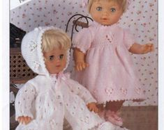 Copley 9177 Qk Matinee Jacket Bonnet and bootees - PDF of Vintage Style Baby Knitting Patterns Baby Knitting Patterns, Baby Patterns, Tiny Tears Doll, Cupcake Dolls, 4 Ply Yarn, Small Baby, Chunky Yarn, Knitted Dolls, Vintage Knitting