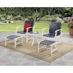 Blue Outdoor Patio Set 5 Pieces Willow Valley 2 Chairs 2 Footrests 1 Table New #Mainstays