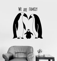 Vinyl Wall Decal Penguins Animal Family Cute Room Decor Stickers (ig3133)
