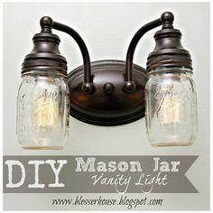 Ideas For Bathroom Vanity Lighting Ideas Diy Mason Jars Pot Mason Diy, Diy Mason Jar Lights, Mason Jar Light Fixture, Mason Jars, Mason Jar Bathroom, Diy Bathroom, Mason Jar Lighting, Vanity Bathroom, Bathroom Ideas