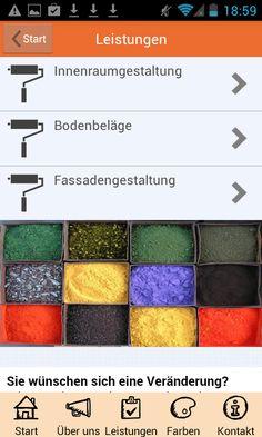 Apmato-made-app des Malerfachbetriebs Westermann & Co. KG in Mühlen, Westfalen, Norddeutschland ❧ Combination of browsing and content modules android.