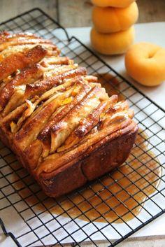 Caramelized Peach Pull Apart Bread #peaches #summer #recipe