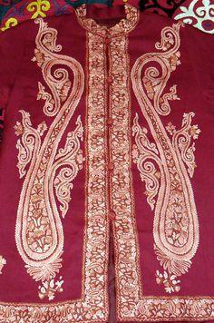 Vintage Kashmiri Hand Crewel Embroidered Paisley on Burgundy Wool
