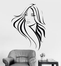 Vinyl Wall Decal Pretty Woman Beauty Salon Hair Stylist Hairstyle Stickers (084ig)