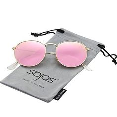 3d1e3c3b23 SOJOS Small Round Polarized Sunglasses Mirrored Lens Unisex Glasses 3447  with Gold Frame Pink Mirrored Lens